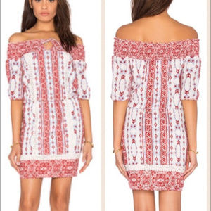 SAYLOR Boho Dress Size S Red White Off Shoulder